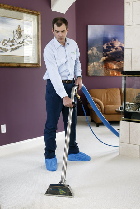 A technician cleans a carpet
